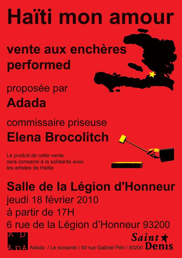 Haïti mon amour, vente aux enchères performed